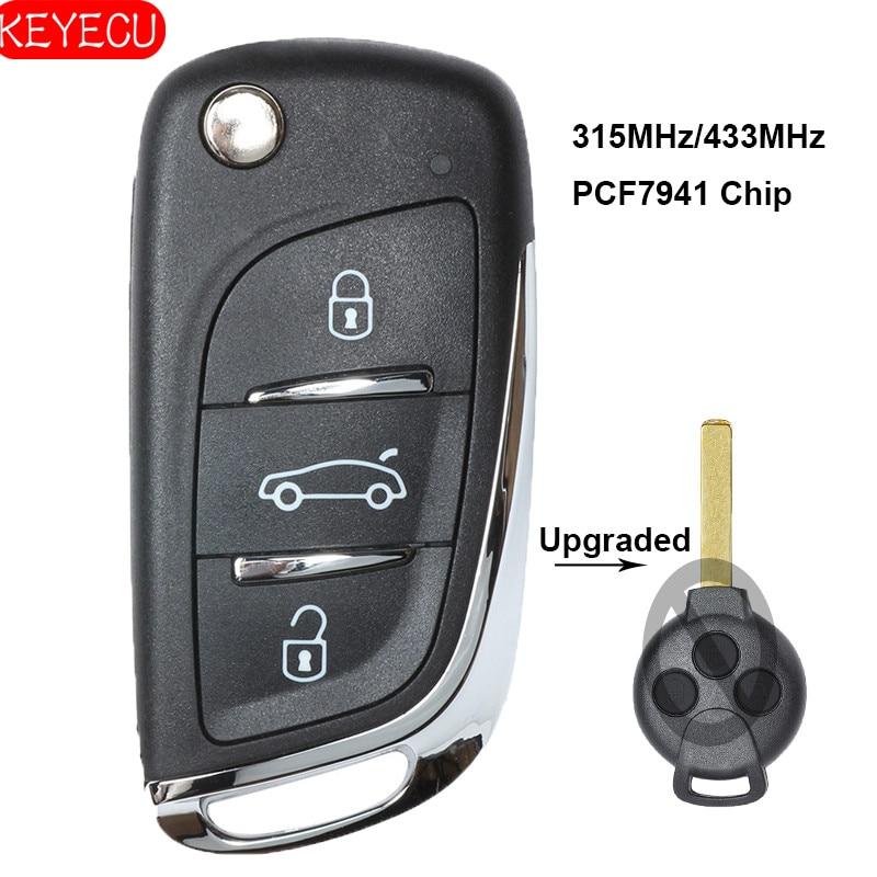 Улучшенный флип-накопитель KEYECU с 3 кнопками 315/433 МГц, дополнительно PCF7941 для Benz Smart Fortwo 451 2007-2013