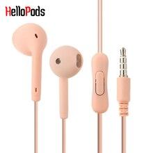 Hellopods fones de ouvido com fio 3.5mm novo universal macaron cor adequado para apple huawei xiaomi vivo oppo pk i12 inpods 12