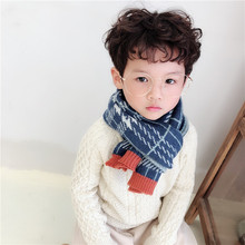 Korean Plaid Wool Knitted Warm Thick Long Fall Winter Kids Children Scarf Shawl Boys Girls Soft Fashion Accessories-LHC-W6