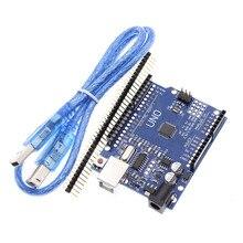 Placa de desenvolvimento para arduino uno r3, para circuitos integrados, estojo kit original, cabo usb para arduino uno r3 ch340g mega 328p chip 16mhz ATMEGA328P AU