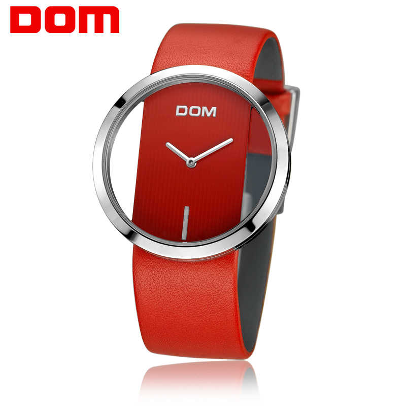DOM izle kadınlar lüks moda Casual 30M su geçirmez kuvars saatler kırmızı hakiki deri kayış spor bayanlar zarif kol saati