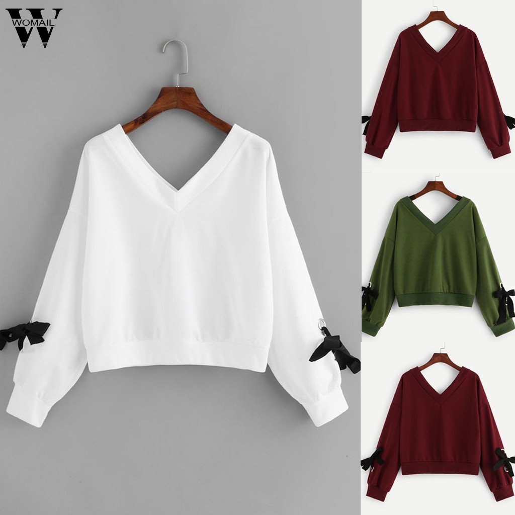 Womail Sweatshirts Women's  Knitted V-Neck Bow Tie Pullover Autumn Casual Long Sleeve Patchwork  Women Sweatshirts Sudadera S-XL