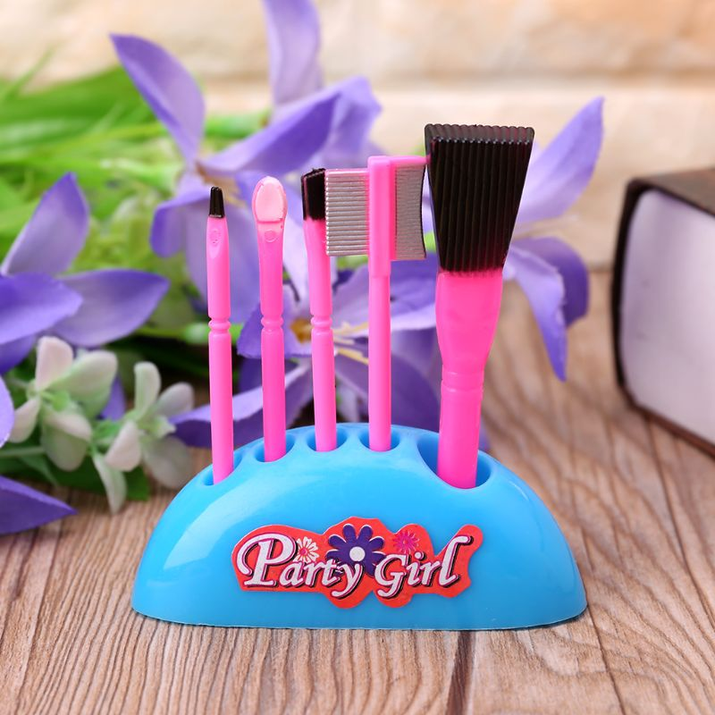 6pcs/set Stylish Makeup Pretend Play Toys Fashion Dolls Accessories For Girls Kids Gifts
