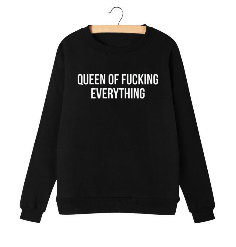 Women Pullover Autumn Letters Printing Round Neck Female Hoodies Harajuku Sweatshirt Punk Queen SUBS Albums Songs Name image