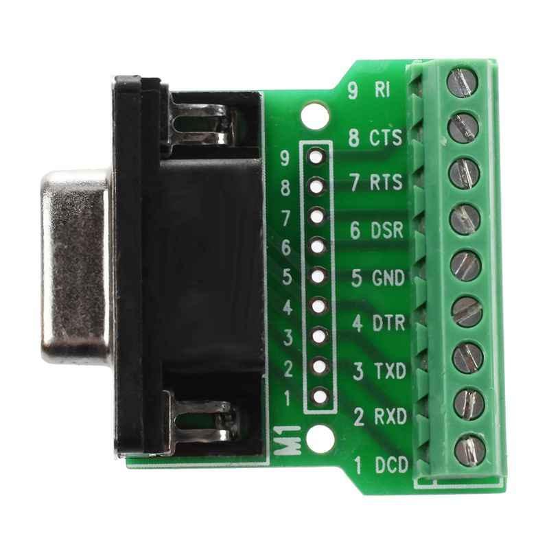 DB9 RS232 シリアル端子メスアダプタコネクタブレークアウト基板ブラック + グリーン