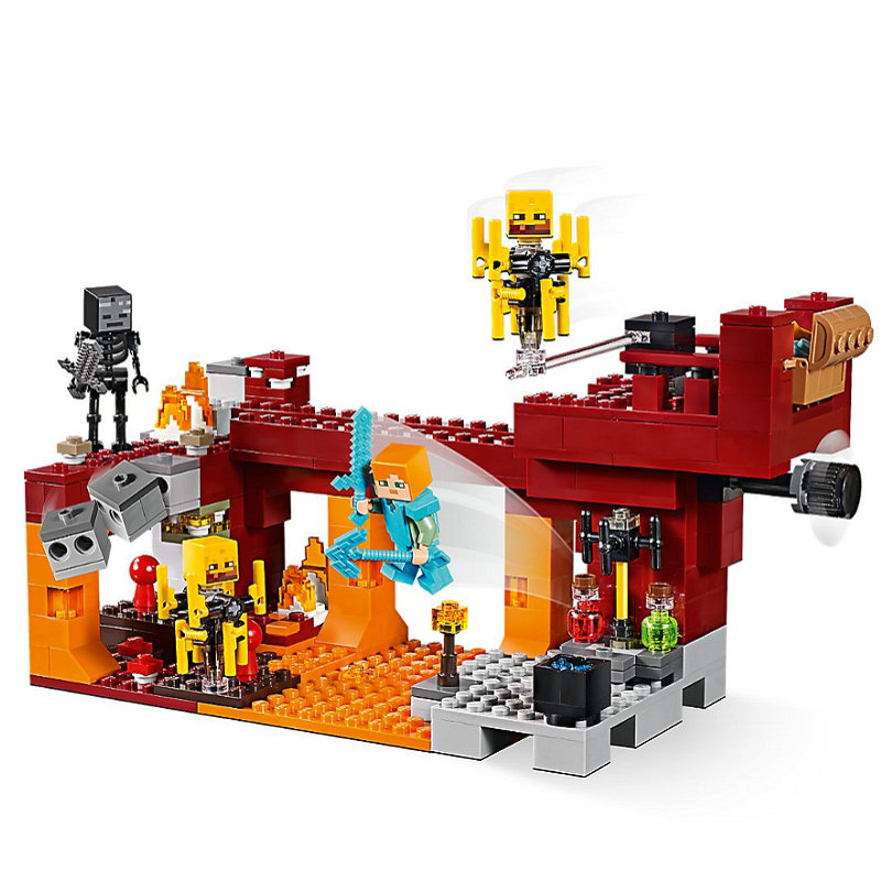 The Blaze Bridge Building Blocks With Steve Action Figures Compatible Lepining MinecraftINGlys Sets Toys 21154