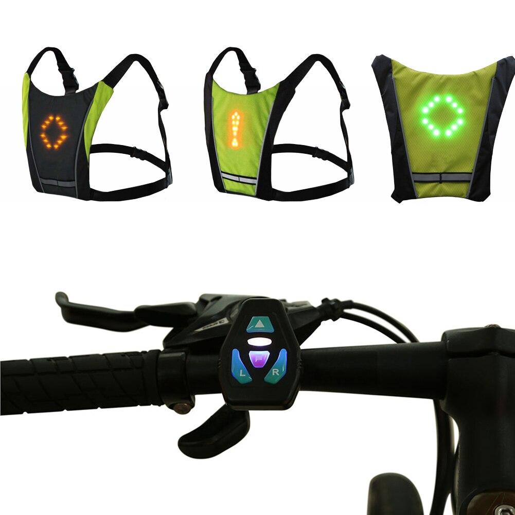 Беспроводной пульт управление светодио дный светоотражающий жилет usb аккумулятор велосипед кемпинг рулевое управление индикатор задняя часть зажим световой предупреждающий свет