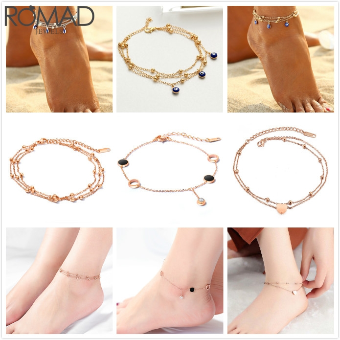 ROMAD Stainless Steel Anklets Boho Anklets For Women Heart Evil Eye Anklet Bracelet Beach Chain Anklet Chain Girl Foot Chain R5