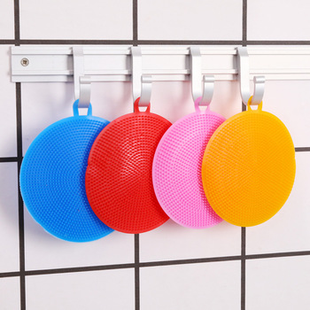 Kitchen Accessories Multifunctional Silicone Dishwash Brush Coaster Thickening Cleaning Kitchen Fruit Cleaner Washing Gadgets