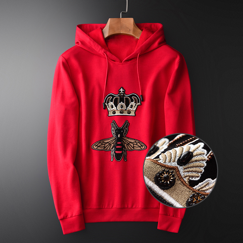 NEW Mens Hoodies Luxury Lyocell Hand Beaded Sequins Hooded Sweatshirt Male Plus Size 4xl Autumn Slim Fit Sport Hoodies Men