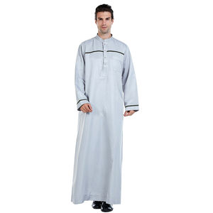Image 2 - Männer Saudi Arabischen Männer Robe Dishdasha Thoub Moslemische Kleidung Langarm Kaftan Abaya Dubai Nahen Osten Islamischen Jubba Thobe Kleid neue