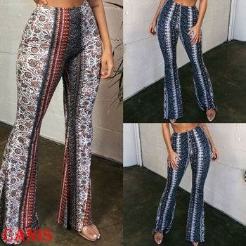 2020 Women Autumn Spring Print Long Pants Leopard Leggings High Waist Flared Wide Legs Bell Bottom Trousers S-XL black floral print flared long pants