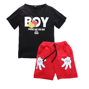2019 New Summer Baby Boys Fashion Print Letter Suit Children's Casual Small printed hand Old Cotton Sets Children's Clothing(China)