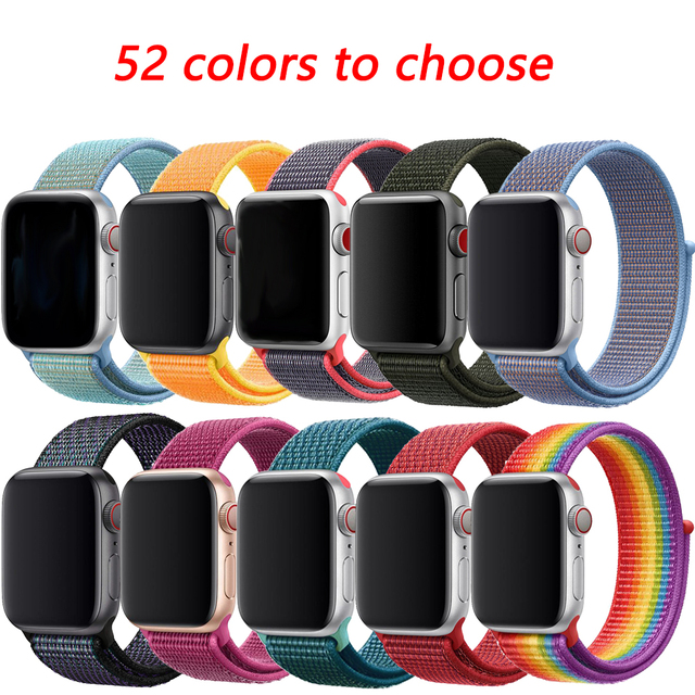 Nylon Strap for apple watch 4 band 44mm 40mm correa apple watch 38 mm iwatch band 42mm Colorful connector belt watchband 4 3 2 1 1