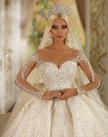 Luxury New Arrival Dubai Ball Gown Crystals Princess White Wedding Dress 2020 Illusion Sleeves Beads Bridal Gown Court Train