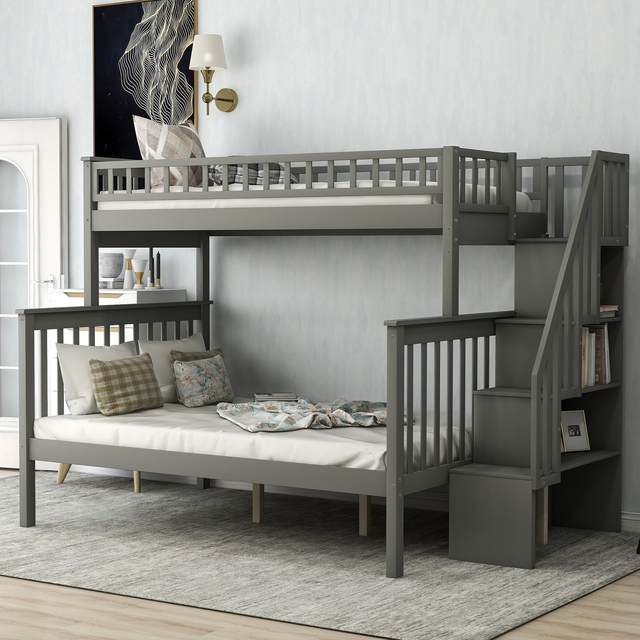 Twin Over Full Kids Bunk Beds with Slide Shelves  1