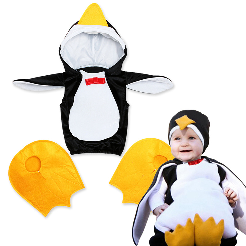 Baby Bosy Girls Cosplay Penguin Costume For Carnival Halloween Toddler Creative Penguin Jumpsuits Waistcoat Infant Clothes