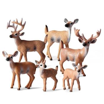 Simulated Solid Forest Deer Figurine Elk Animal Model Table Desk Decor Kids Educational Toys for Children Gifts image
