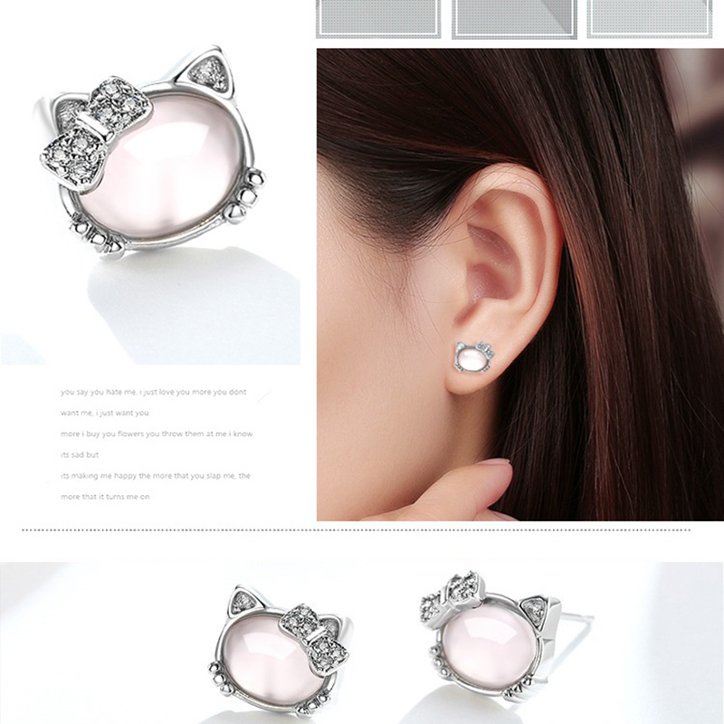 Pink Crystal Hibiscus Stone Pendant Kitty Earrings Female Trend Wild Temperament Valentine's Day Gifts on February 14
