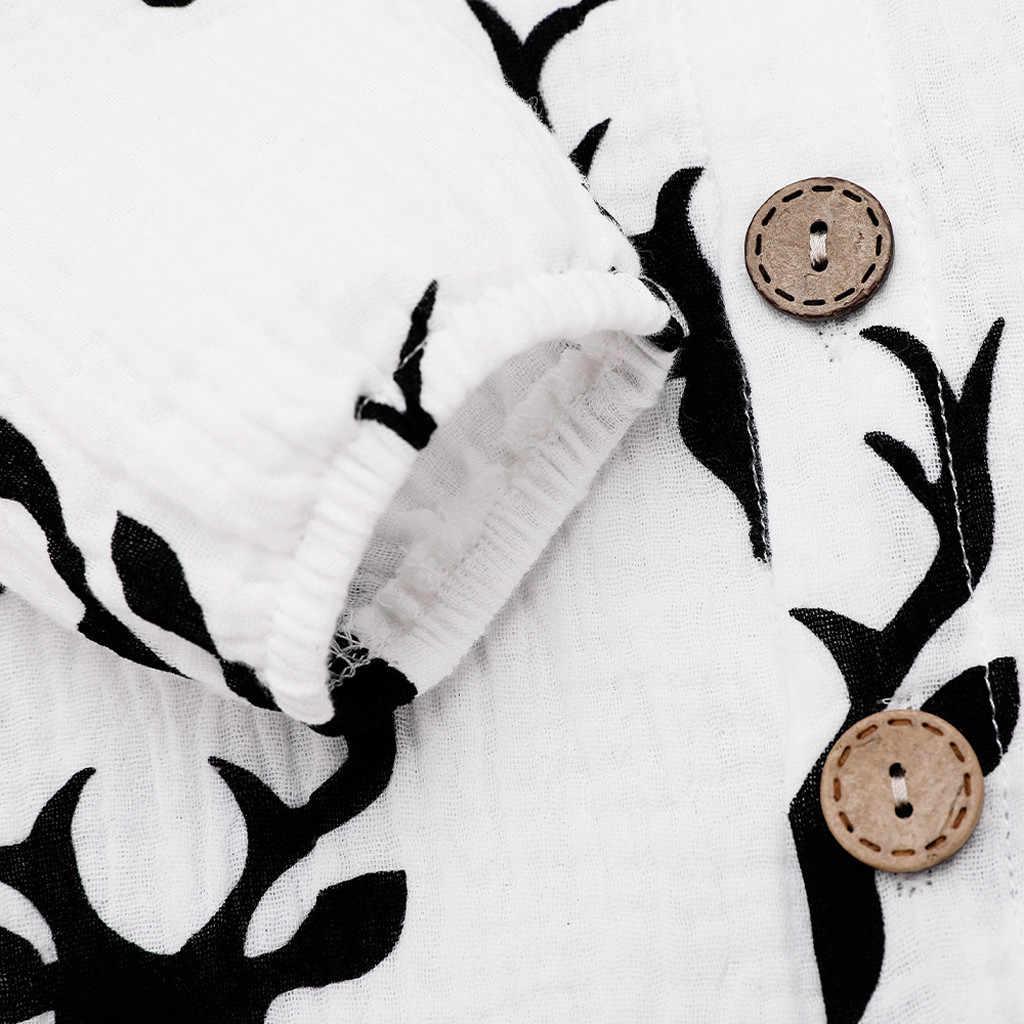Botão Recém-nascidos Romper Infantil Bebê Menino Menina Natal Dos Cervos do natal Traje Do Natal Da Criança Do Bebê Romper Macacão de Bebê Onesie