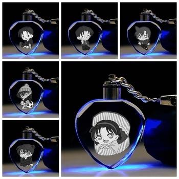 COSANER Detective Conan en forma de corazón Anime LED llavero con cadenas de juguete de cristal llavero de luz llavero regalos Unisex