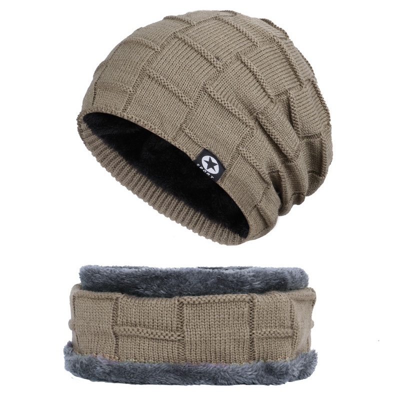 Unisex Winter Warm Crochet Knit Wool Skull Hat Ski Cap Head Scarf Set Neck Warmers Gaiters Cap