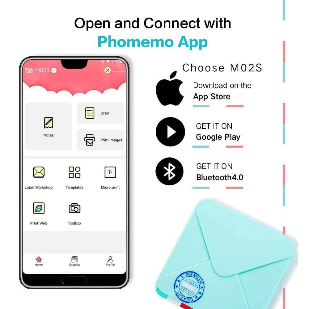 Phomemo M02S Bỏ Túi Máy In 300 Dpi HD Bluetooth Mini Ảnh Nhiệt Iphone Miếng Dán Nhãn Bỏ Túi Di Động Cầm Tay Nhỏ Máy In
