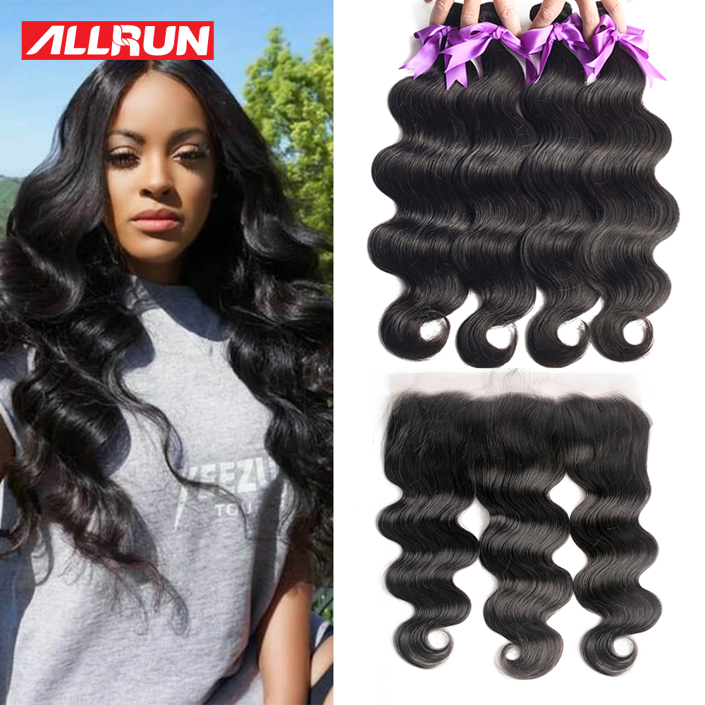 Allrun Bundles With Frontal Closure Brazilian Hair Weave Bundles Non Remy Body Wave Human Hair Bundles With Closure Extension