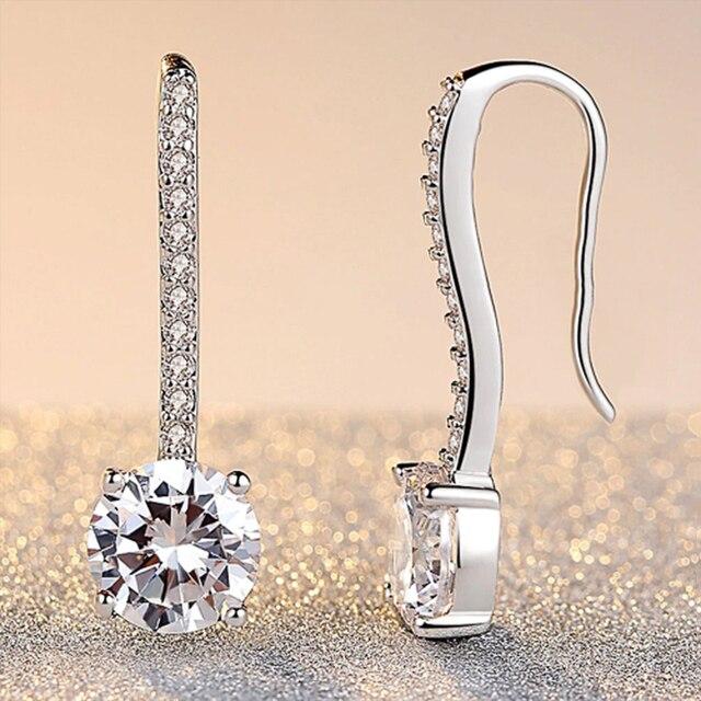 Hot Sale Women Earrings Luxury Inlaid CZ Stone Simple and Elegant Lady's Accessories Wedding Trend Earrings Jewelry 3