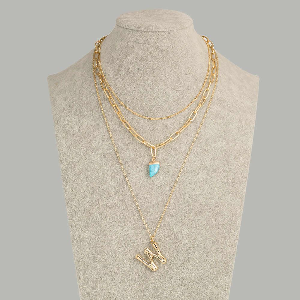2019 Charm 26 lettre pendentif collier bleu corne de boeuf forme dame chaîne collier géométrie irrégulière collier pour femmes bijoux cadeau