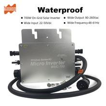 Беспроводной IP65 700W MPPT на сетке Микро солнечный инвертор, 22-50VDC до 80-260VAC, 50hz 60hz авто, работоспособный для 2x350W солнечной панели