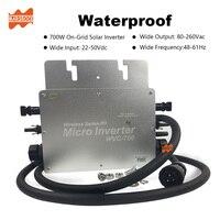 Wireless IP65 700W MPPT On Grid Micro Solar Inverter, 22 50VDC to 80 260VAC, 50hz 60hz auto, workable for 2x350W solar panel.