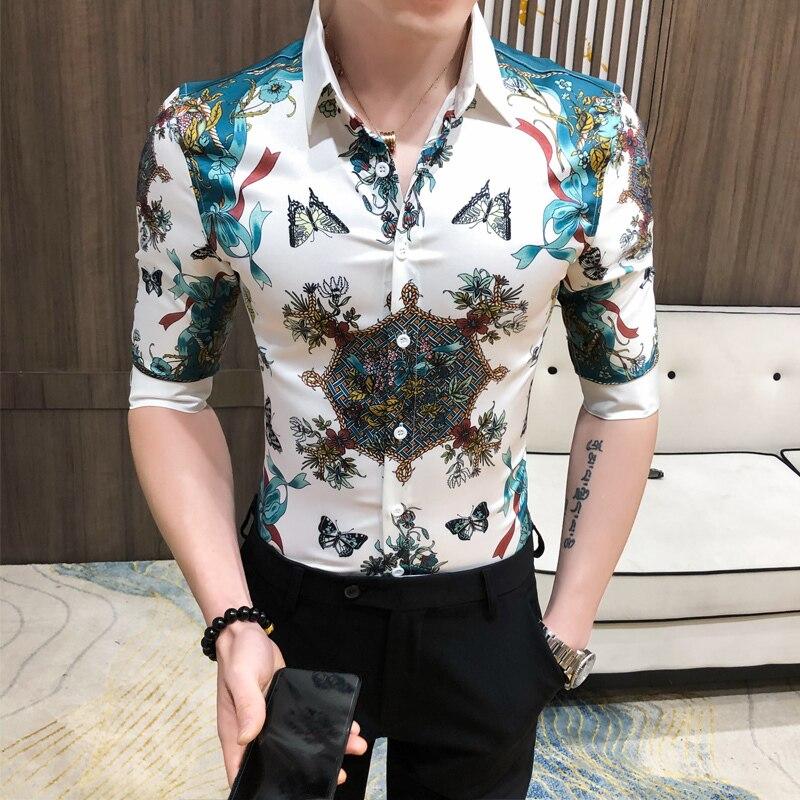 Hairstylist Shirts Mens Night Club Tuxedo Shirt Social Plus Size 3XL-M Spring Summer New Men Striped Shirt Half Sleeve Slim Fit