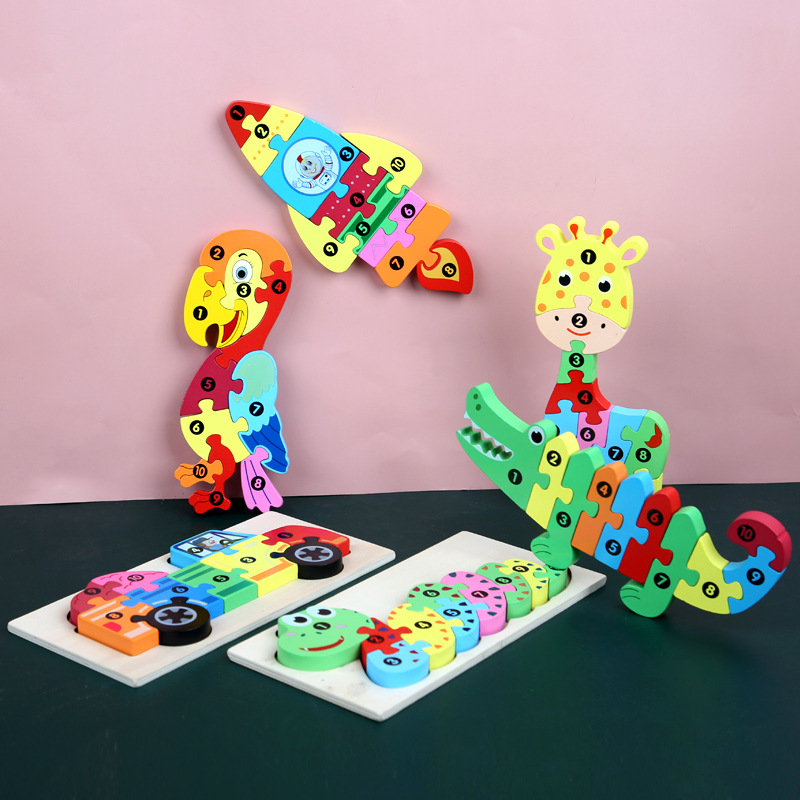 Big Wooden Toys Funny Puzzls Colorful Cartoon Animal Digital Jigsaw Puzzles Children Early Educational Learning Toys For Kids