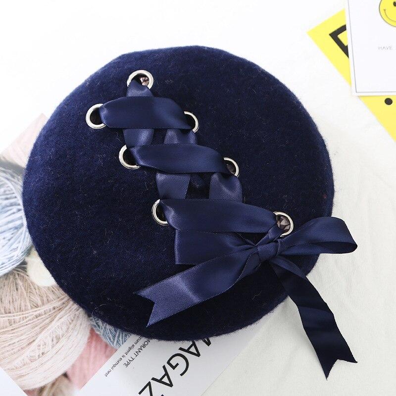 Шерстяные женские Зимние береты, роскошные бархатные винтажные кашемировые женские теплые модные береты, шапки для девушек, плоская кепка, берет для женщин - Цвет: NavyBlue