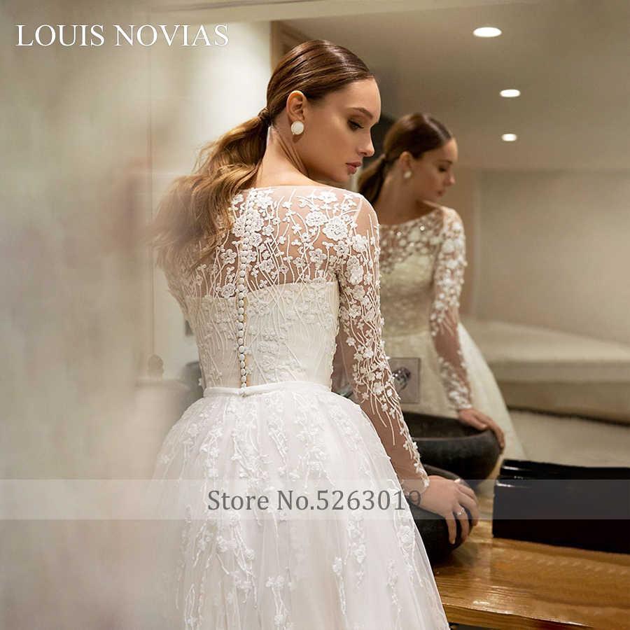 לואיס Novias ארוך שרוול חתונת שמלת רקמה המעודנת ארמון חלום אמיתי תמונות סקופ כפתור משפט רכבת שמלות כלה