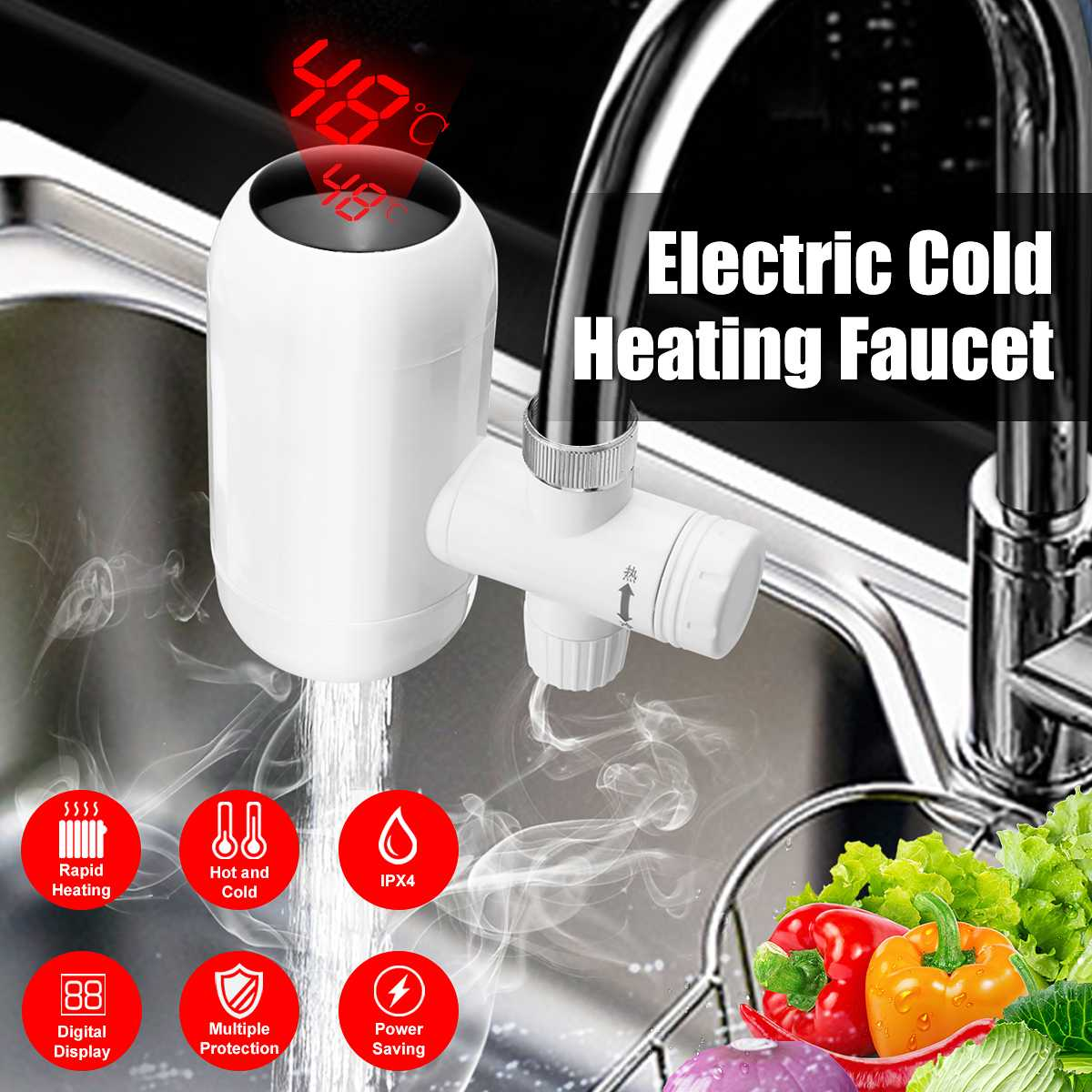 Water Heater Tap Kitchen Faucet Instantaneous 3000W Digital Display Cold Hot Water Faucet Tankless Electric Water Heating Tap