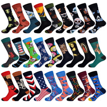 Spring New Arrived Happy Socks Men Funny Art BritishStyle Streetwear Hip Hop Animals Characters Designer Crew Sock Gift for
