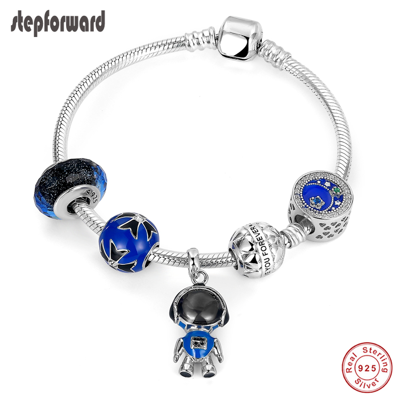 STEP FORWARD 925 Sterling Silver Robot Charms Bracelet Blue Series Charm Bangles For Women Vacation Style Silver Jewelry
