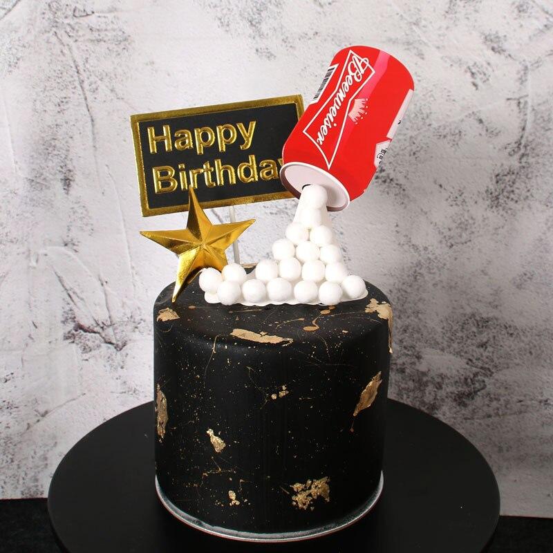 Happy Birthday Cake Topper 3D Simulado Bolo Garrafa De Cerveja Bandeira da Festa de Formatura Casamento Decoração Do Bolo Decoração Suprimentos