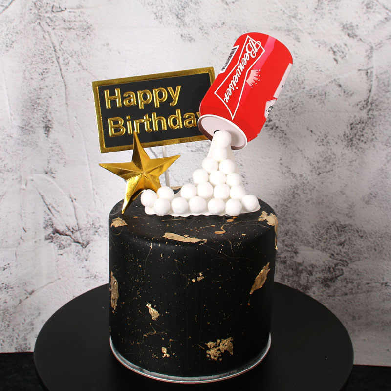 Stupendous Happy Birthday Cake Topper 3D Simulated Beer Bottle Cake Flag Personalised Birthday Cards Epsylily Jamesorg