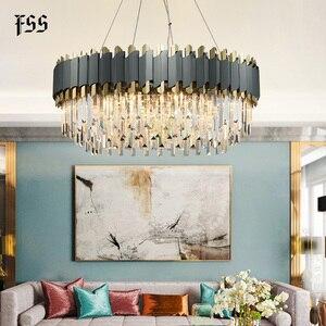 Image 3 - FSS nowa nowoczesna kryształowa chromowana prostokątna żyrandol do jadalni sypialnia okrągłe żyrandole oświetlenie do salonu oprawy