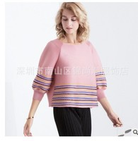 HOT SELLING Fashion New arrival women's pleated top striped three quarter Metal sheets T shirt IN STOCK