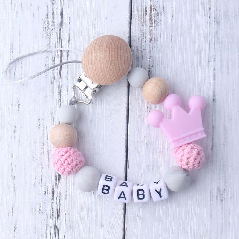 Personalized Name Handmade Silicone Pacifier Chains Safe Teething Chain Baby Teether Eco-friendly Pacifier Clips Holder Chain
