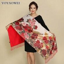 Lenço vintage dois lados usar lenços de seda, retro tippet quente impressão floral xale xale de cachecol floral impresso vintage