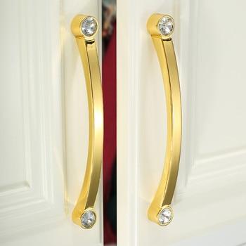 96 128 160 192mm modern fashion Transparent glass crystal kitchen cabinet wardrobe door handle chrome gold cupboard dresser pull