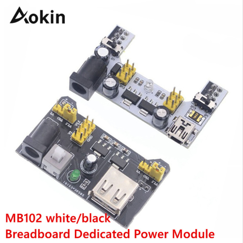 Aokin MB102 Solderless Breadboard Power Supply Module For Arduino 3.3V 5V MB102 White/black Breadboard Dedicated Power Module