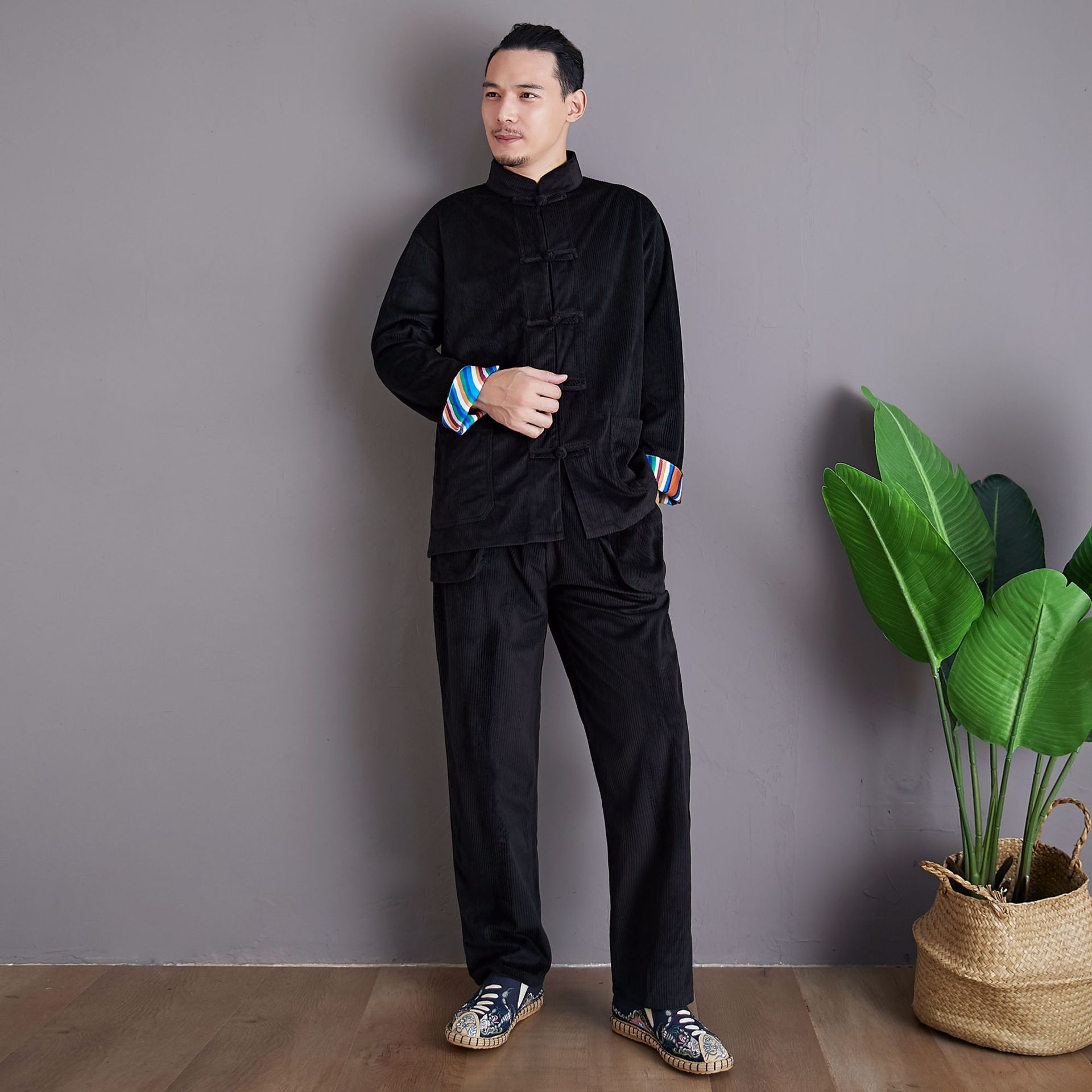2019 Autumn New Style Corduroy Set Chinese-style Chinese Clothing Casual-Solid Color Stand Collar Frog MEN'S Casual Suit