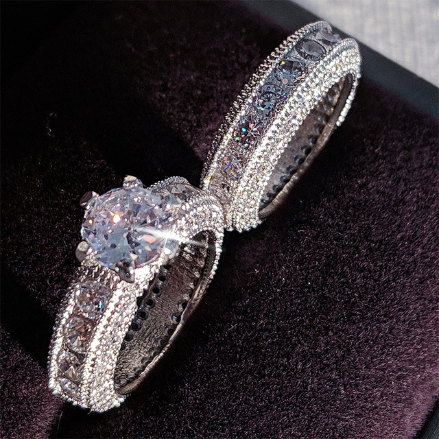 925 Sterling Silver luxury bold big wedding Rings set for bridal Women Engagement african finger christmas gift Jewelry r4428 3