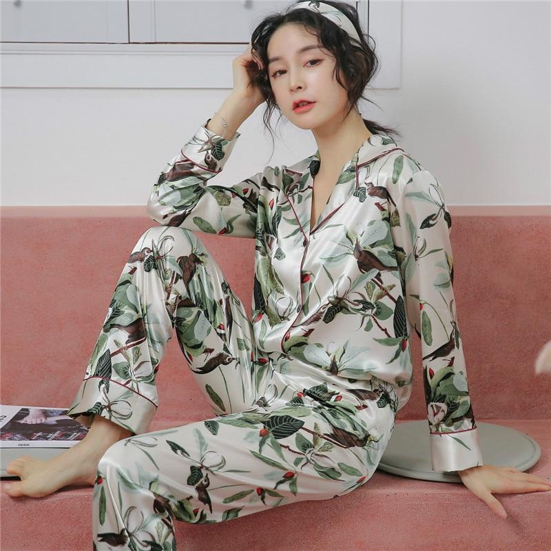 Image 3 - 2019 летние женские пижамные комплекты с цветочным принтом, атласные шелковые пижамы в горошек, пижамы с длинным рукавом, домашняя одежда-in Комплекты пижам from Нижнее белье и пижамы on AliExpress - 11.11_Double 11_Singles' Day